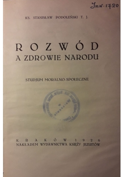 Rozwód a zdrowie narodu 1926 r