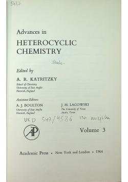 Advances in heterocyclic chemistry Volume 3