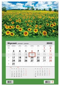 Kalendarz ścienny 2022 jednodzielny Słoneczniki