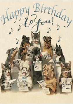 Karnet B6 z kopertą Urodziny Śpiewające psy i koty