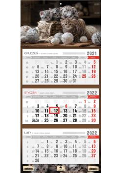 Kalendarz 2022 trójdzielny Kotki