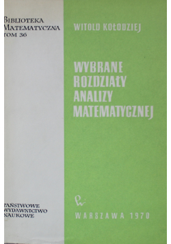 Wybrane Rozdziały Analizy Matematycznej