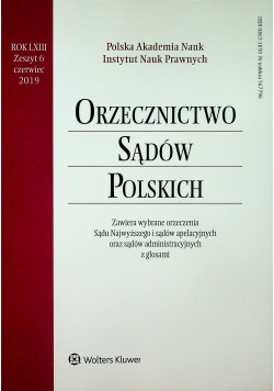 Orzecznictwo Sądów Polskich Rok LXIII Zeszyt 6