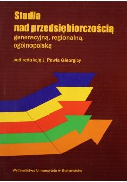 Studia nad przedsiębiorczościa generacyjna regionalna ogólnopolską