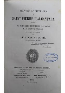 Oeuvres Spirituelles de Saint Pierre D Alcantara 1862 r.