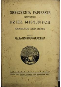 Orzeczenia papieskie dotyczące dzieł misyjnych 1931 r