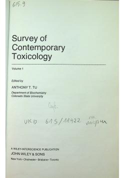 Survey of Contemporary Toxicology Volume 1