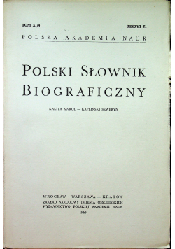 Polski Słownik Biograficzny tom XI / 4