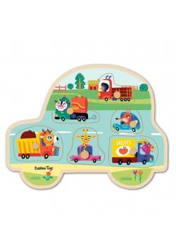 Drewniane puzzle Dopasuj Kształty Pojazdy