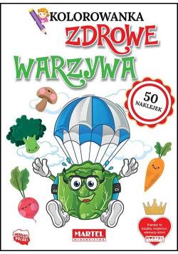 Kolorowanka z naklejkami Zdrowe warzywa