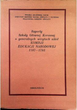 Raporty Szkoły Głównej Koronnej o generalnych wizytach szkół Komisji Edukacji Narodowej 1787 1793