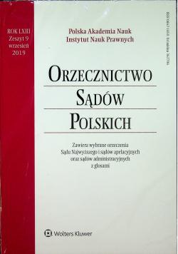 Orzecznictwo Sądów Polskich Rok LXIII  zeszyt 9Nowa