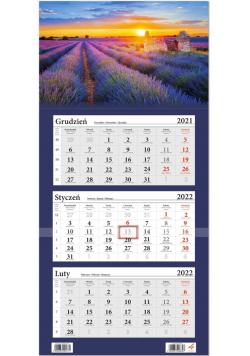 Kalendarz ścienny 2022 trójdzielny Pole Lawendy