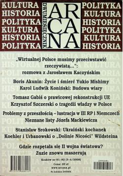 Dwumiesięcznik Arcana Kultura Historia Polityka Nr 81 i 82