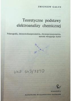 Teoretyczne podstawy elektroanalizy chemicznej