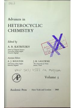 Advances in heterocyclic chemistry Volume 5