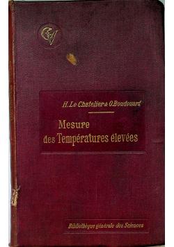 Mesure des temperatures elevees 1900 r.