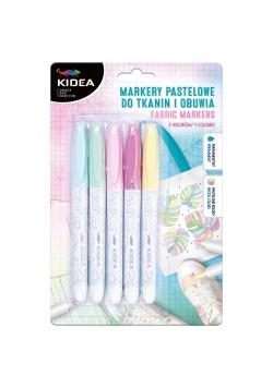 Markery do obuwia i tkanin pastel 5 kolorów KIDEA