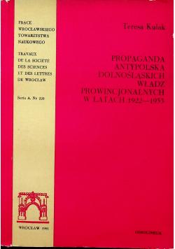 Propaganda antypolska dolnośląskich władz prowincjonalnych w latach 1922 - 1933