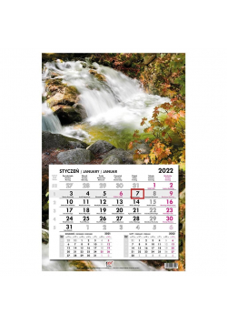 Kalendarz 2022 jednodzielny główka płaska Woda