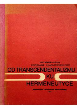 Od transcendentalizmu ku hermeneutyce