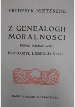Z genealogii moralności reprint z 1906 roku