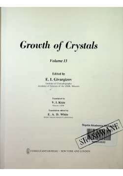 Growth of Crystals volume 13