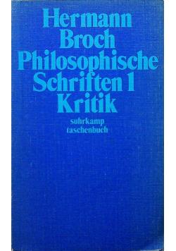 Philosophische Schriften 1 Kritik