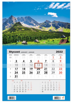 Kalendarz ścienny 2022 jednodzielny Góry