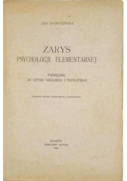 Zarys psychologji elementarnej, 1925 r.