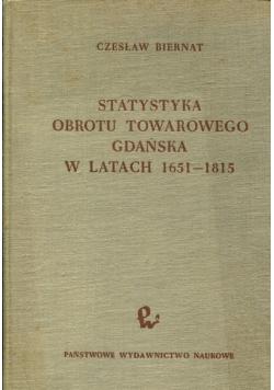 Statystyka obrotu towarowego Gdańska w latach 1651 1815