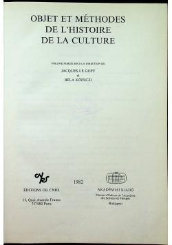 Object et methodes de LHistorie de la culture