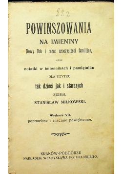 Powinszowania na imieniny Nowy Rok i różne uroczystości familijne około 1920r
