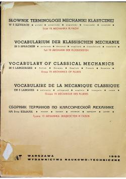 Słownik terminologii mechaniki klasycznej