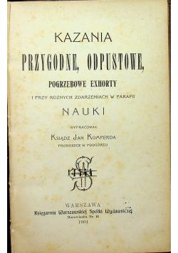 Kazania przygodne odpustowe pogrzebowe exhorty 1904 r.