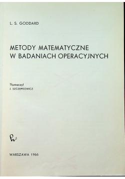 Metody matematyczne w badaniach operacyjnych