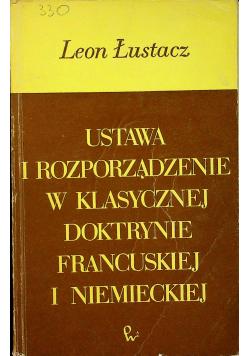 Ustawa i rozporządzenie w klasycznej doktrynie francuskiej i niemieckiej