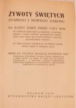 Żywoty świętych starego i nowego zakonu tom IV 1936 r.