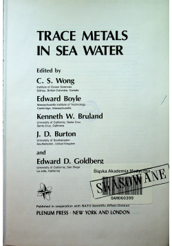 Trace metals in sea water
