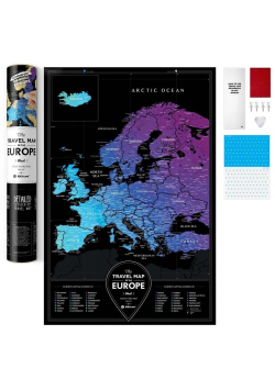 Mapa zdrapka - Travel Map Black Europe