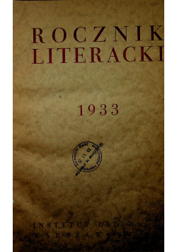 Rocznik literacki 1933 1934 r