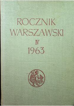 Rocznik Warszawski IV 1963