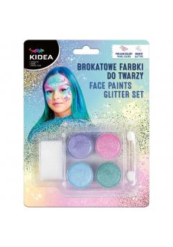 Farbki do twarzy brokatowe 4 kolory KIDEA