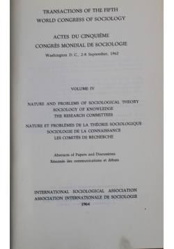 Trans Actions of the Fifth World Congress of Sociology Volume IV