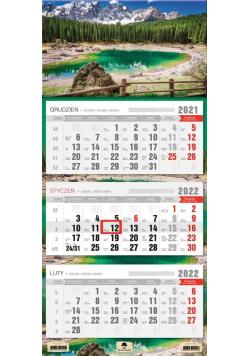 Kalendarz 2022 trójdzielny Alpy
