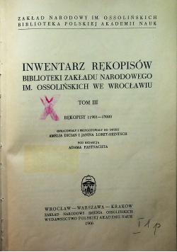 Inwentarz Rękopisów Tom III