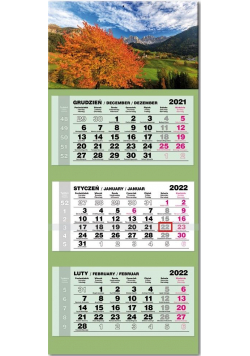 Kalendarz 2022 trójdzielny lux Jesień