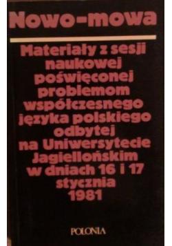 Nowo mowa  materiały z sesji naukowej poświęconej problemom współczesnego języka polskiego