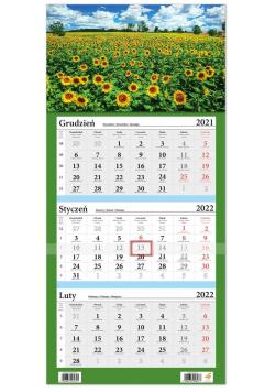 Kalendarz ścienny 2022 trójdzielny LUX Słoneczniki